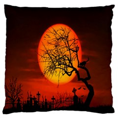 Helloween Midnight Graveyard Silhouette Large Flano Cushion Case (two Sides) by Mariart