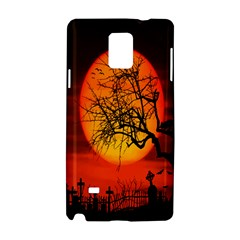 Helloween Midnight Graveyard Silhouette Samsung Galaxy Note 4 Hardshell Case by Mariart