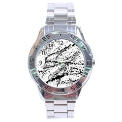 Ink Splatter Texture Stainless Steel Analogue Watch by Mariart