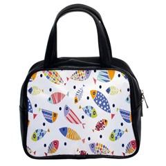 Love Fish Seaworld Swim Blue White Sea Water Cartoons Rainbow Classic Handbags (2 Sides) by Mariart