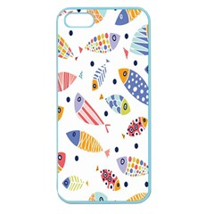 Love Fish Seaworld Swim Blue White Sea Water Cartoons Rainbow Apple Seamless Iphone 5 Case (color) by Mariart