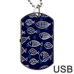 Love Fish Seaworld Swim Blue White Sea Water Cartoons Dog Tag Usb Flash (two Sides) by Mariart