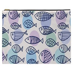 Love Fish Seaworld Swim Blue White Sea Water Cartoons Rainbow Polka Dots Cosmetic Bag (xxxl)  by Mariart