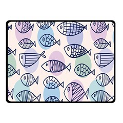 Love Fish Seaworld Swim Blue White Sea Water Cartoons Rainbow Polka Dots Double Sided Fleece Blanket (small)  by Mariart