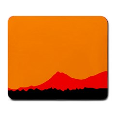 Mountains Natural Orange Red Black Large Mousepads by Mariart
