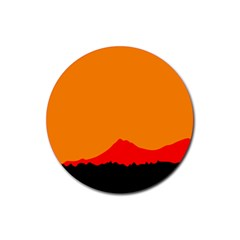 Mountains Natural Orange Red Black Rubber Round Coaster (4 Pack)  by Mariart