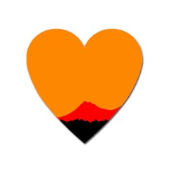 Mountains Natural Orange Red Black Heart Magnet by Mariart