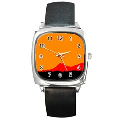 Mountains Natural Orange Red Black Square Metal Watch by Mariart