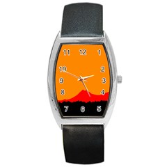 Mountains Natural Orange Red Black Barrel Style Metal Watch by Mariart