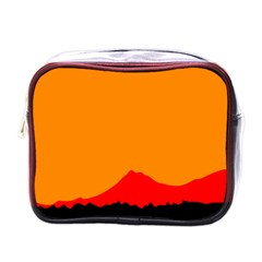 Mountains Natural Orange Red Black Mini Toiletries Bags by Mariart