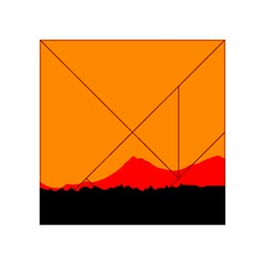 Mountains Natural Orange Red Black Acrylic Tangram Puzzle (4  X 4 ) by Mariart