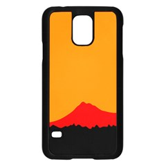 Mountains Natural Orange Red Black Samsung Galaxy S5 Case (black) by Mariart
