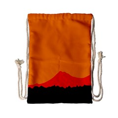 Mountains Natural Orange Red Black Drawstring Bag (small) by Mariart
