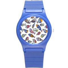 Love Fish Seaworld Swim Rainbow Cartoons Round Plastic Sport Watch (s) by Mariart