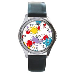 Paint Splash Rainbow Star Round Metal Watch by Mariart