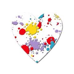 Paint Splash Rainbow Star Heart Magnet by Mariart