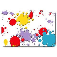Paint Splash Rainbow Star Large Doormat  by Mariart