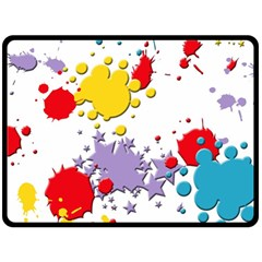Paint Splash Rainbow Star Fleece Blanket (large)  by Mariart