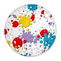 Paint Splash Rainbow Star Ornament (round Filigree) by Mariart