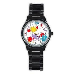Paint Splash Rainbow Star Stainless Steel Round Watch by Mariart