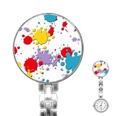 Paint Splash Rainbow Star Stainless Steel Nurses Watch by Mariart