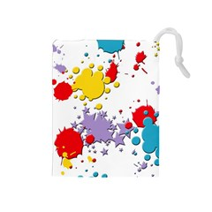 Paint Splash Rainbow Star Drawstring Pouches (medium)  by Mariart