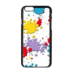 Paint Splash Rainbow Star Apple Iphone 6/6s Black Enamel Case by Mariart
