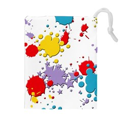 Paint Splash Rainbow Star Drawstring Pouches (extra Large) by Mariart
