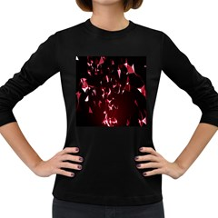 Lying Red Triangle Particles Dark Motion Women s Long Sleeve Dark T Shirts by Mariart