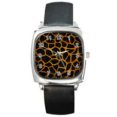 Skin1 Black Marble & Yellow Grunge Square Metal Watch