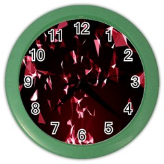 Lying Red Triangle Particles Dark Motion Color Wall Clocks by Mariart