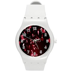 Lying Red Triangle Particles Dark Motion Round Plastic Sport Watch (m) by Mariart