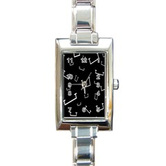 Pit White Black Sign Pattern Rectangle Italian Charm Watch by Mariart
