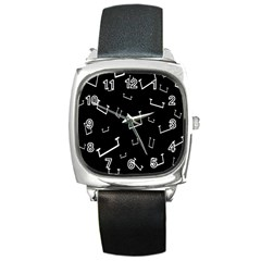 Pit White Black Sign Pattern Square Metal Watch by Mariart