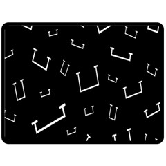 Pit White Black Sign Pattern Double Sided Fleece Blanket (large)  by Mariart
