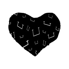 Pit White Black Sign Pattern Standard 16  Premium Flano Heart Shape Cushions by Mariart