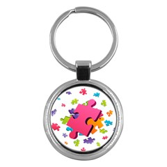 Passel Picture Green Pink Blue Sexy Game Key Chains (round)  by Mariart
