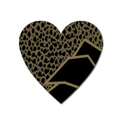 Polka Spot Grey Black Heart Magnet by Mariart