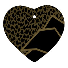 Polka Spot Grey Black Heart Ornament (two Sides) by Mariart