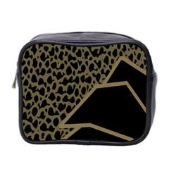 Polka Spot Grey Black Mini Toiletries Bag 2 Side by Mariart