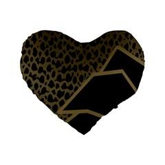Polka Spot Grey Black Standard 16  Premium Flano Heart Shape Cushions by Mariart