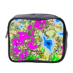 Painting Map Pink Green Blue Street Mini Toiletries Bag 2 Side by Mariart