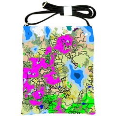 Painting Map Pink Green Blue Street Shoulder Sling Bags by Mariart
