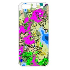 Painting Map Pink Green Blue Street Apple Iphone 5 Seamless Case (white) by Mariart