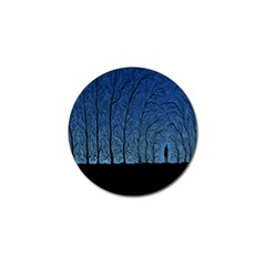 Forest Tree Night Blue Black Man Golf Ball Marker (10 Pack)