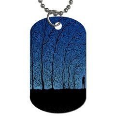 Forest Tree Night Blue Black Man Dog Tag (two Sides) by Mariart