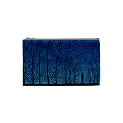 Forest Tree Night Blue Black Man Cosmetic Bag (small)  by Mariart