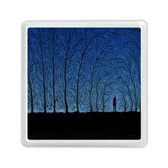 Forest Tree Night Blue Black Man Memory Card Reader (square)  by Mariart