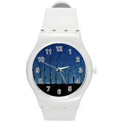 Forest Tree Night Blue Black Man Round Plastic Sport Watch (m) by Mariart