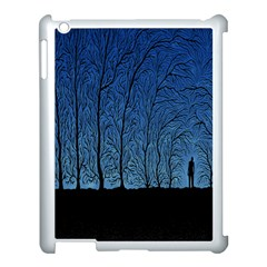 Forest Tree Night Blue Black Man Apple Ipad 3/4 Case (white) by Mariart